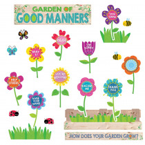 CTP6949 - Garden Of Good Manners Mini Bulletin Board Set in Miscellaneous