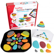 FunPlay Rainbow Pebbles - Homeschool Kit for Kids - 36 Sorting and Stacking Toys + 50 Activities + Messy Tray - CTU13272 | Learning Advantage | Sorting