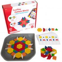 FunPlay Pattern Blocks - Homeschool Kit for Kids - Set of 60 Wooden Math Manipulatives + 50 Activities + Messy Tray - CTU22014 | Learning Advantage | Math