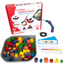 FunPlay Attribute Beads - Homeschool Kit for Kids - 72 Wooden Lacing Beads + 2 Laces + 40 Activities + Messy Tray - CTU40152 | Learning Advantage | Lacing