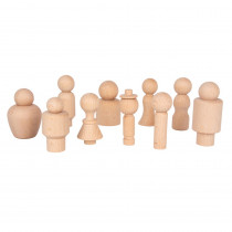 Wooden Community Figures - Set of 10 - For Ages 18m+ - Wooden Peg Dolls for Kids - 10 Different Shapes - Loose Parts Wooden Toys for Toddlers - CTU74009 | Learning Advantage | Figurines