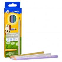 Color Giant Colored Pencils, Metallic, 6.25mm, Lacquered, 6 Colors - DIX3941062 | Dixon Ticonderoga Company | Colored Pencils