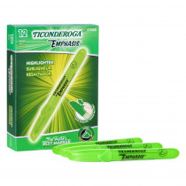 Emphasis Highlighters, Desk Style, Chisel Tip, Green, Pack of 12 - DIX47068 | Dixon Ticonderoga Company | Highlighters
