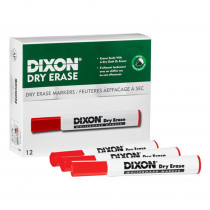 Dry Erase Markers Wedge Tip, Red, Pack of 12 - DIX92101   Dixon Ticonderoga Company   Markers