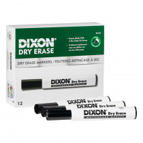 Dry Erase Markers Wedge Tip, Black, Pack of 12 - DIX92107 | Dixon Ticonderoga Company | Markers