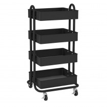 ELR20702BK - 4-Tier Utility Rolling Cart Black in Storage