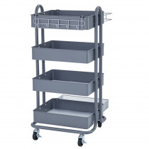 ELR20702GY - 4-Tier Utility Rolling Cart Gray in Storage