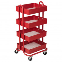 ELR20702RD - 4-Tier Utility Rolling Cart Red in Storage