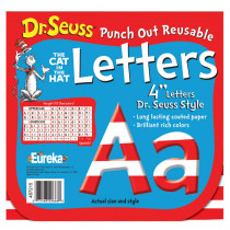 EU-487215 - Dr Seuss 4 In Red & White Letters Punch Out Reusable in Letters