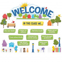 A Teachable Town In This Class Welcome Set Bulletin Board Set - EU-847795 | Eureka | Classroom Theme