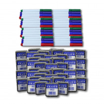 Class Pack of 48 Erasers & 48 Colored Markers - FLP192734 | Flipside | Markers
