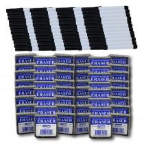 Class Pack of 48 Erasers & 48 Black Markers - FLP197934 | Flipside | Markers