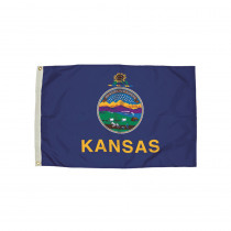 FZ-2152051 - 3X5 Nylon Kansas Flag Heading & Grommets in Flags
