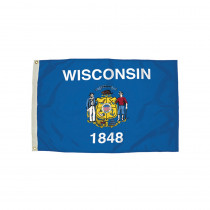 FZ-2482051 - 3X5 Nylon Wisconsin Flag Heading & Grommets in Flags