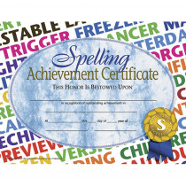 H-VA576 - Spelling Achievement 30/Pk 8.5X11 Certificates in Language Arts