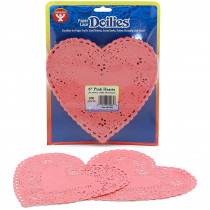 HYG91065 - Doilies 6 Pink Hearts in Doilies