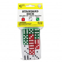 KOP11700 - Dot Dice 6 Each Of Red White & Green in Dice