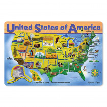 LCI3797 - Usa Map Wooden Puzzle 16X12 45 Pcs in Wooden Puzzles