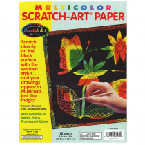 LCI8000 - S Art Paper Multi 12Sht/Pk in Scratch Art Sheets