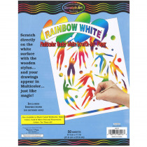 LCI8016 - Rainbow White Scratch-Art 50 Sht Paper 8 1/2X11 in Scratch Art Sheets