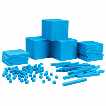 LER0932 - Plastc Base Ten Class Set 600 Units 200 Rods 20 Flats 3 Cubes in Base Ten