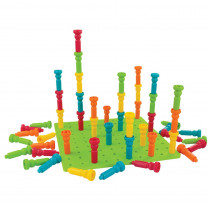 LR-2446 - Large Tall-Stacker Peg Set 50 Pegs 11-1/2 100-Hole Board in Pegs