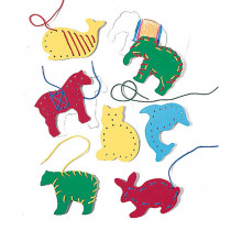 LR-2562 - Lacing & Tracing Animals 7/Pk Ages 3-7 in Lacing