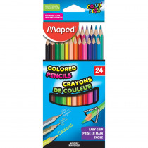 Color'Peps Triangular Colored Pencils, Pack of 24 - MAP832046ZV | Maped Helix Usa | Colored Pencils