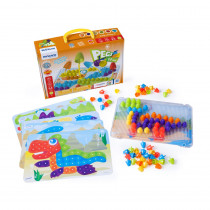 Pegs & Patterns Set, Bright Colors, 90 Pieces - MLE45318 | Miniland Educational Corporation | Pegs
