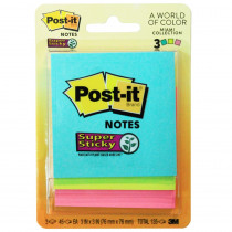 MMM3321SSAN - Ss Notes 3X3 45 Shts Asst Neon 3Pk in Post It & Self-stick Notes