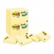 MMM65324VAD - Post-It Notes Value Pk 24 Pads Canary Yellow 1 1/2 X 2 in Post It & Self-stick Notes
