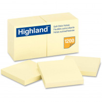 MMM6549YW - Highland Self-Stick Notes 12 Pads 100 Shts/Pad 3X3 Yellow in Post It & Self-stick Notes