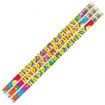 MUS2214D - Birthday Bash 12Pk Motivational Fun Pencils in Pencils & Accessories