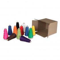Double Weight Assorted Cones, 12 Assorted Colors, 2 oz., 12 Cones - PAC0000590 | Dixon Ticonderoga Co - Pacon | Yarn
