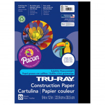 PAC103029 - Tru Ray 9 X 12 Black 50 Sht Construction Paper in Construction Paper