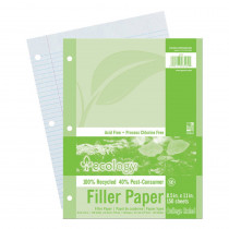 PAC3202 - Ecology Recycled Filler Paper 150Sh 9/32In College Ruling in Loose Leaf Paper