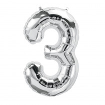 PBN59087 - 16In Foil Balloon Silver Number 3 in Accessories