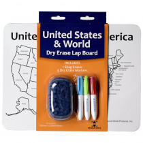 Double-Sided World/USA Dry Erase Activity Lap Board with 3 Markers & Eraser - RWPDE01 | Waypoint Geographic | Maps & Map Skills