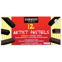 SAR224115 - Sargent Art Sq Chalk 12 Charcoal Colors Pastels in Chalk