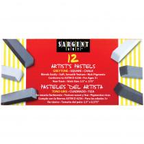 SAR224116 - Sargent Art Sq Chalk 12 Grey Tones Colors Pastels in Chalk