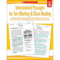 SC-579379 - Gr 3 Informational Passages For Text Marking & Close Reading in Comprehension