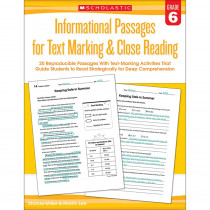 SC-579383 - Gr 6 Informational Passages For Text Marking & Close Reading in Comprehension