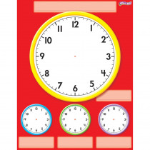 T-27312 - Clocks Wipe Off Chart 17X22 in Dry Erase Sheets