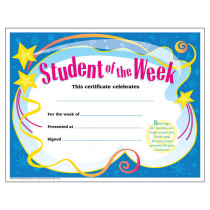 T-2960 - Certificate Student Of The 30/Pk Week 8-1/2 X 11 in Certificates