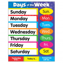 T-38203 - Learning Charts Days Of The Week Stars in Miscellaneous