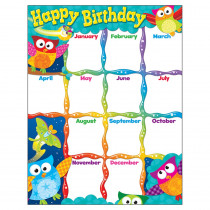 T-38452 - Happy Birthday Owl Stars Learning Chart in Miscellaneous
