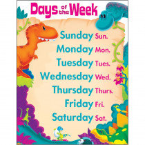 T-38481 - Days Of The Week Dino-Mite Pals Learning Chart in Classroom Theme