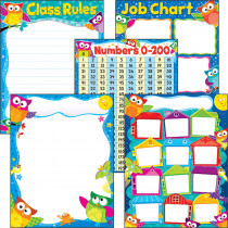 T-38974 - More Classroom Basics Owl-Stars Learning Charts Combo Pack in Classroom Theme