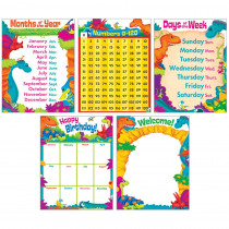 T-38975 - Classroom Basics Dino Mite Pals Learning Charts Combo Pack in Classroom Theme