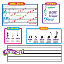 T-8189 - Bulletin Board Set Music Symbols Includes 2 Wipe-Off Staffs in Classroom Theme
